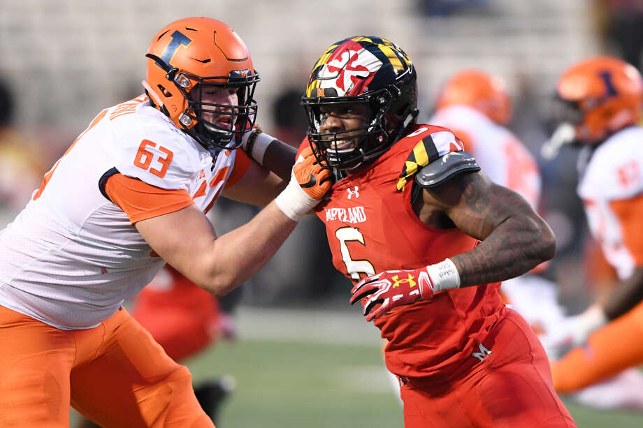 Maryland's Jessie Aniebonam had 39 tackles, five for losses and two sacks. Photo: Mitchell Layton / Getty Images