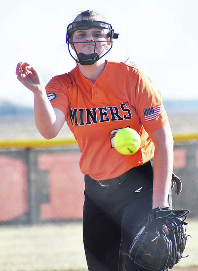 Gillespie sophomore Sydney Bires, shown pitching in a game March 18 in Edwardsville, threw her first career no-hitter on Monday to beat Carlinville in Gillespie. Photo: Matt Kamp / Hearst Illinois