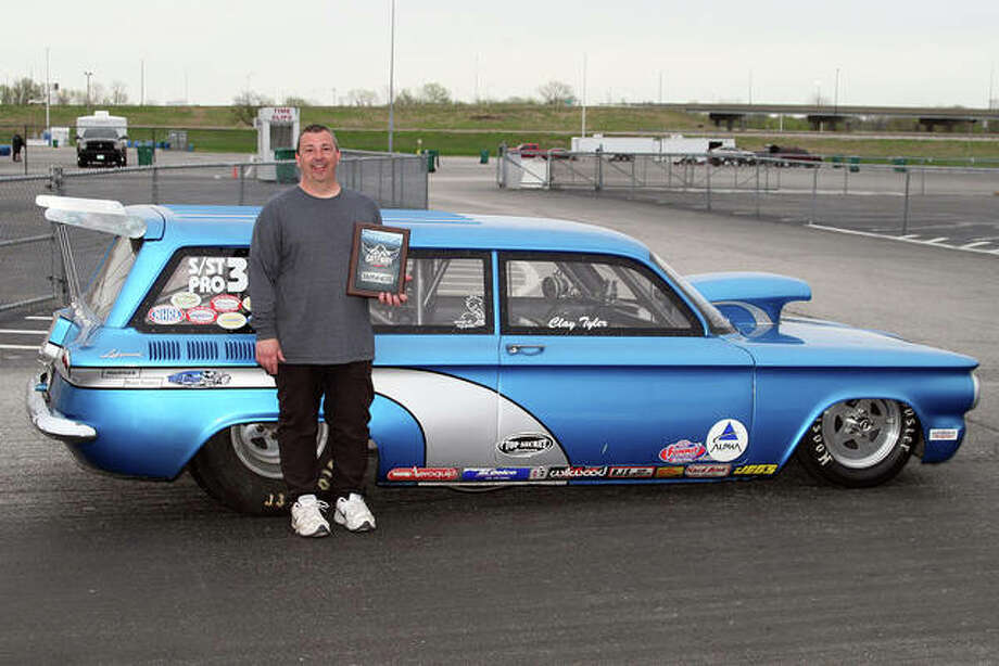 Clay Tyler of Bethalto has worked on this heavily-modified 1961 Chevrolet Corvair wagon for two years and Saturday it finally paid off with a victory in the Pro class at Gateway Motorsports Park in Madison. Tyler defeated Ron Hendrixson of St. Louis in the final round of eliminations. Photo: Courtesy Of John Bisci