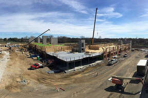 The latest drone shot from The Parkway during the week of April 8 shows wood framing rising quickly on one of Edwardsville's newest residential properties. Spring weather permits construction crews to make progress on The Parkway, situated on the former Madison Mutual Insurance site, on Route 157 between Governors' Parkway and Center Grove Road. The adjoining Kloss Furniture Store is slated to open on May 3.