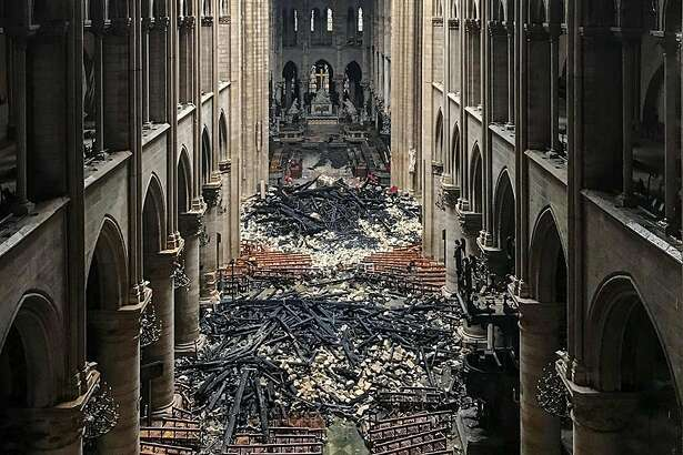 A picture taken on April 16, 2019 shows an interior view of the Notre-Dame Cathedral in Paris in the aftermath of a fire that devastated the cathedral. - The Paris fire service announced that the last remnants of the blaze were extinguished on April 16, 15 hours after the fire broke out. Thousands of Parisians and tourists watched in horror from nearby streets on April 15 as flames engulfed the building and rescuers tried to save as much as they could of the cathedral's treasures built up over centuries. (Photo by - / AFP)-/AFP/Getty Images