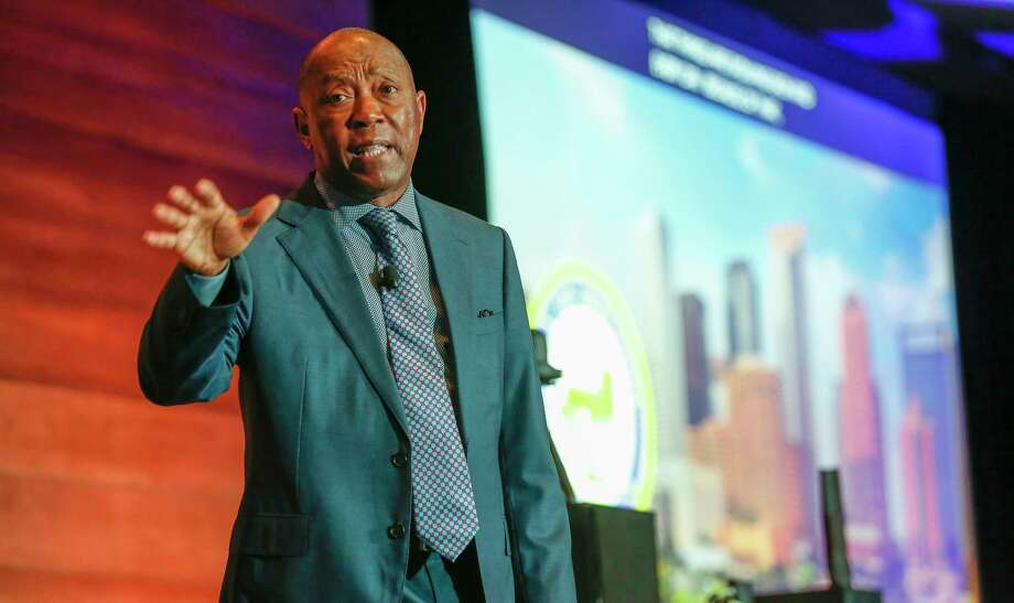 Mayor Sylvester Turner speaks at the Microsoft IoT in Action Solution Builder Conference Tuesday, April 16, 2019, in Houston. Photo: Steve Gonzales, Staff Photographer / © 2019 Houston Chronicle
