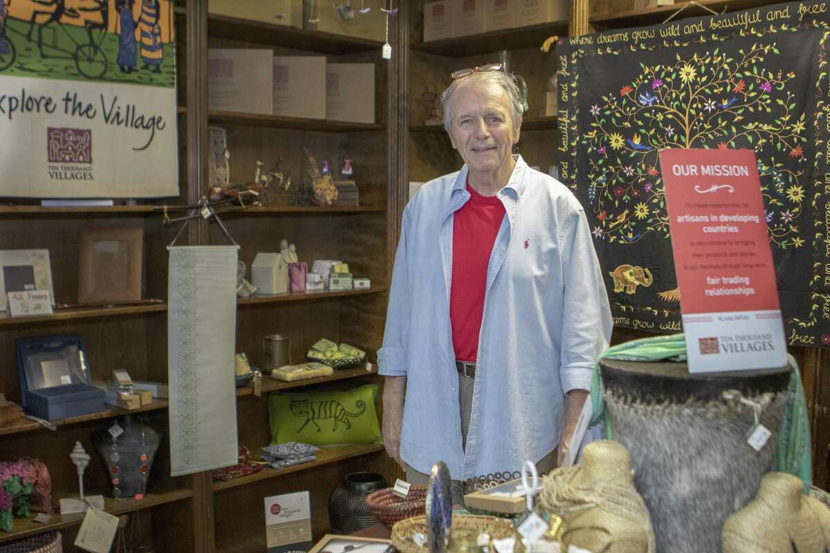 Rev. Wayne Ivey stands inside the First Christian Church fair trade market Chalice Abbey on Wednesday, April 10, 2019 in Conroe. The market features items from all around the world and promotes fair trade with small villages and disadvataged artisans.