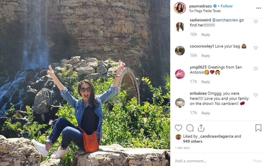 "Paulina Madrazo, a cast member of the Mexico City-based Bravo series ""Mexican Dynasties,"" visited the amusement park and posted multiple Instagram photos showing her jaunts around San Antonio. Photo: Instagram Screengrab"