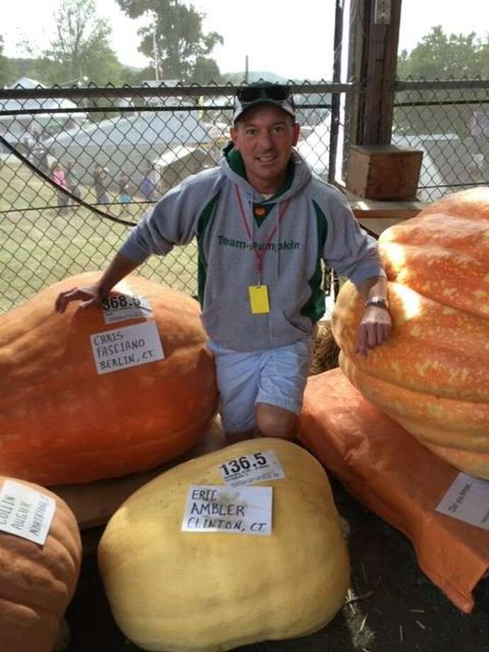 Learn the secrets of growing giant pumpkins from Team Pumpkin in Durham on Sunday, April 28, 2019 at the fairgrounds. Pictured is team member Eric Ambler. Photo: Richard Manley / Contributed Photo /