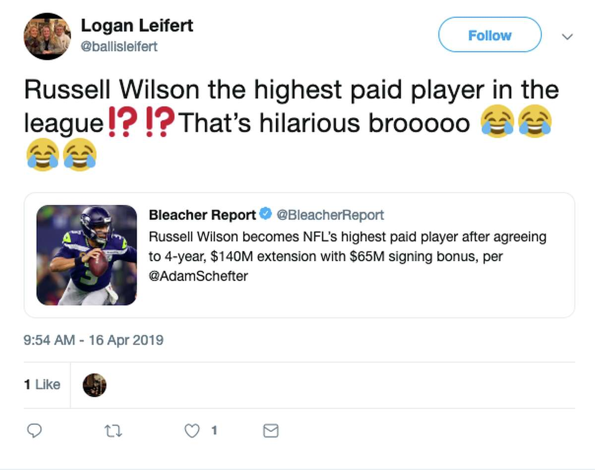 Twitter reacts to Russell Wilson's record setting deal.