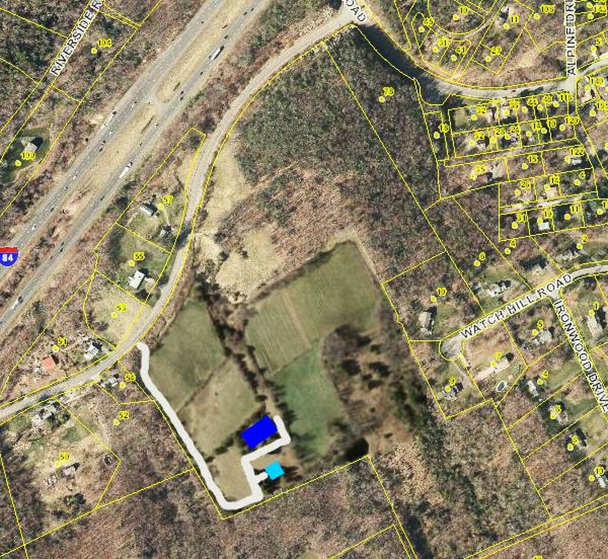 The 40 acre property at 56 Pole Bridge Road, west of Sandy Hook, where a single-family home and a winery are proposed.