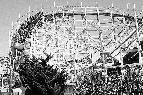 The giant roller coaster at Santa Cruz Beach Boardwalk, June 26, 1974