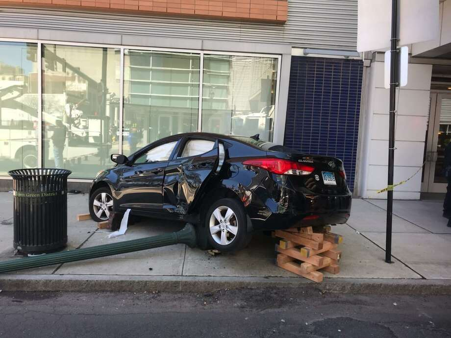 A vehicle crashed into a Gateway Community College building Tuesday. Photo: CONTRIBUTED PHOTO