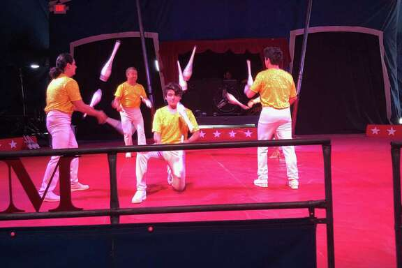 The opening act of the Kelly Miller Circus, which came to Crosby on March 30, was a juggling act