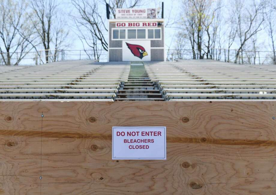 The Cardinal Stadium home bleachers are closed during the boy's lacrosse game at Greenwich High School Tuesday. Photo: Tyler Sizemore / Hearst Connecticut Media / Greenwich Time