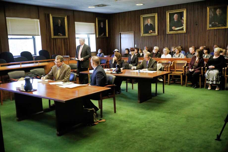 Lawyers representing St. Clare's Corporation, New York State Attorney General, and St. Clare's pensioners, appear  for a court hearing about the Corporation that administers St. Clare's now-terminated pensions seeking to dissolve itself on Tuesday, April 16, 2019, in Schenectady, N.Y.  (Paul Buckowski/Times Union) Photo: Paul Buckowski, Albany Times Union / (Paul Buckowski/Times Union)