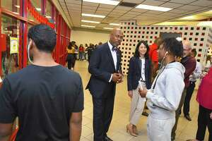 In this 2017 file photo, Spring ISD Superintendent Rodney Watson and Chief Administrator Lupita Hinojosa greet Westfield High School student Zy Tarian on the first day of classes. The Holdsworth Center, a school leadership development nonprofit, selected Spring ISD as a program participant on Tuesday.