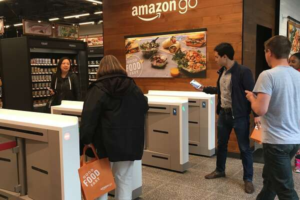Inside the Amazon Go store on 575 Market St., the company's third output in San Francisco. Shoppers can walk into the store, scan their phones via the Amazon Go app to get through the turnstile, pick up an item(s) and walk out with with updated digital receipts on their phones.