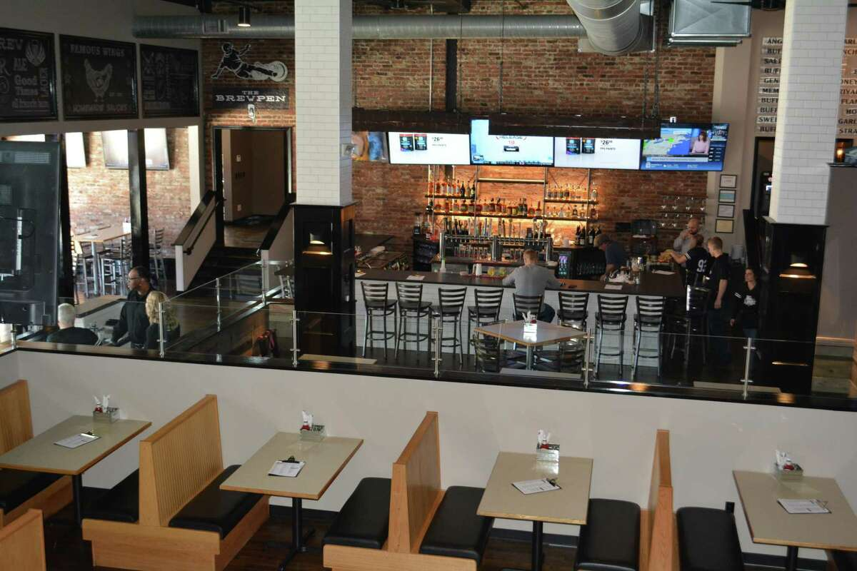 A view from the mezzanine of the new Slider's Grill & Bar at 84 Main St., next to the Warner Theatre.