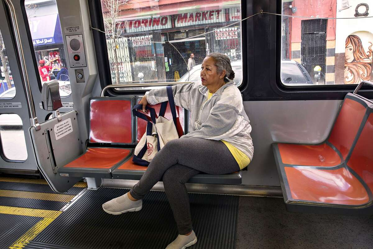 Ida Jackson rides the T Muni line outbound train to Bayview�Hunters Point on Tuesday, April 16, 2019. San Francisco, Calif.