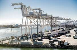 Shipping containers line the the Charles P. Howard Terminal, a possible location for a new Oakland Athletics baseball stadium, on Monday, Sept. 17, 2018, in Oakland, Calif.