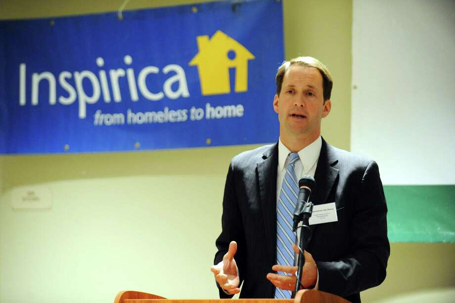Inspirica, seen here getting the support of U.S. Rep. Jim Himes, is set to receive money from Greenwich's Community Development Block Grant Committee. Photo: Michael Cummo / Hearst Connecticut Media / Stamford Advocate