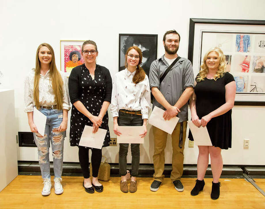 Pictured, from left to right, are Kaleigh Grace, Best in Show; Debra Welch, second place; Amber Miller, third place; Trevor Ayres and Michelle Seitzinger, honorable mention. Not pictured are Emily Linn, honorable mention, and Jeanne Meyer, Special Recognition Award. Photo: For The Intelligencer