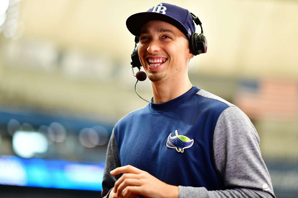 ST PETERSBURG, FLORIDA - APRIL 03: Blake Snell #4 of the Tampa Bay Rays gets interviewed by the MLB Network before a game against the Colorado Rockies at Tropicana Field on April 03, 2019 in St Petersburg, Florida. (Photo by Julio Aguilar/Getty Images)