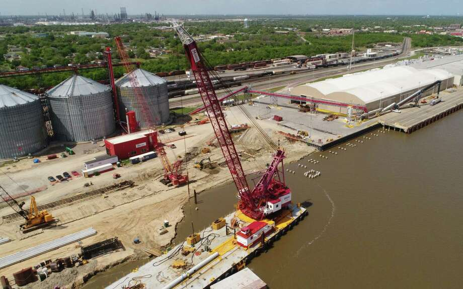 Employees at the Port of Port Arthur celebrated Tuesday the groundbreaking of a berth expansion project that will extend the mooring area several hundred feet. Future projects are expected to lengthen the berth to the Martin Luther King Bridge.  Photo taken Tuesday, 4/16/19 Photo: Drone Image: Guiseppe Barranco/The Enterprise, Photo Editor / Guiseppe Barranco ©