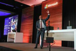 Rodney Clark, vice president of IoT Sales for Microsoft, speaks at the Microsoft IoT in Action Solution Builder Conference Tuesday, April 16, 2019, in Houston.