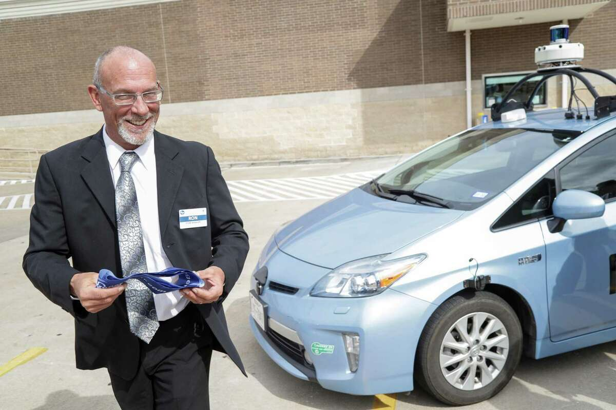 Ron Schlimper, a store manager at the Kroger store on South Post Oak Boulevard smiles after a ribbon cutting to announce a delivery service from Kroger using autonomous-driving technology, at the Kroger store on South Post Oak Boulevard Tuesday, April 16, 2019, in Houston.