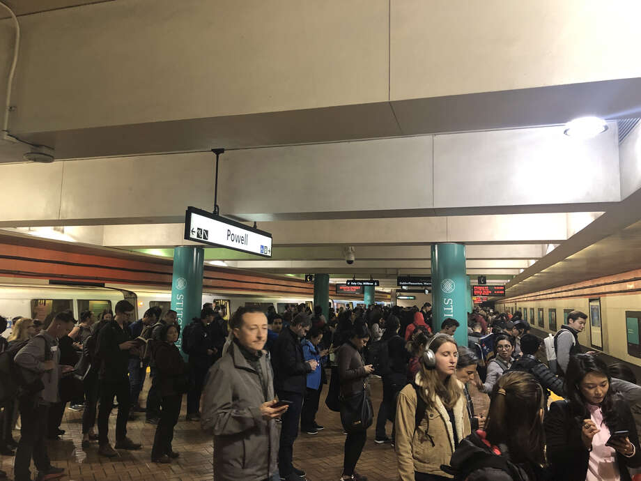 The crowded BART platform at Powell Street station on April 16. Photo: Alix Martichoux