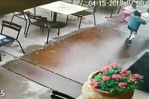 A woman and her two young children narrowly escaped getting slammed by a vehicle that lost control in a parking lot, launched off a curb and crashed onto the empty patio of a Mexican restaurant in Napa on Monday, April 15, 2019.
