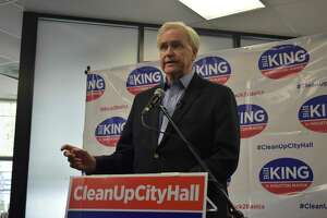 Houston mayoral candidate Bill King convened a news conference Tuesday, April 16, 2019, to call attention to his campaign's request for details about city contracts and transactions that do not require approval from city council, and the $2.8 million the city legal department estimated it would cost to fulfill it.