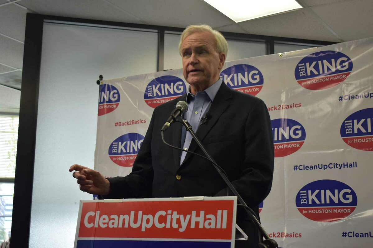 Houston mayoral candidate Bill Kingconvened a news conference to shed light on his campaign's request for details about city contracts and transactions that do not require approval from city council.