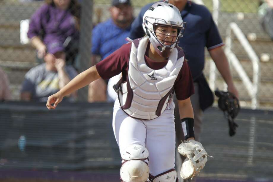 Lee's Gisselle Dominguez (17) runs after a bunt from a Midland High batter April 16, 2019, at Martin Field. James Durbin / Reporter-Telegram Photo: James Durbin / Midland Reporter-Telegram