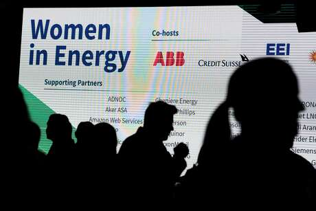 Guests arrive to the Women in Energy dialogue during the CERAWeek by IHS last month. Women interviewed at several networking events in Houston declined to discuss the #MeToo era, and denied that the issue is worse than in other industries.