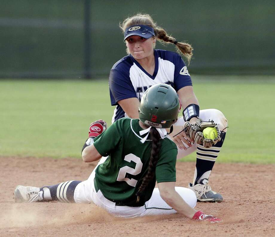 The Woodlands Abby Jones is safe at second on the steal as Klein Collins' Katy Schaefer tries to make the tag during the fourth inning of their District 15-6A softball game Tuesday, Apr. 16, 2019 at Klein Collins high school in Spring, TX. Photo: Michael Wyke, Houston Chronicle / Contributor / © 2019 Houston Chronicle