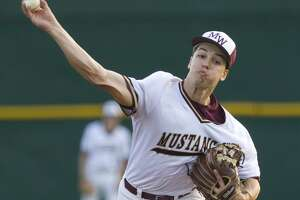 Magnolia West starting pitcher Connor Phillips (9) throws during the first innign of a District 19-5A high school baseball game at Magnolia West High School, Tuesday, April 16, 2019, in Magnolia.