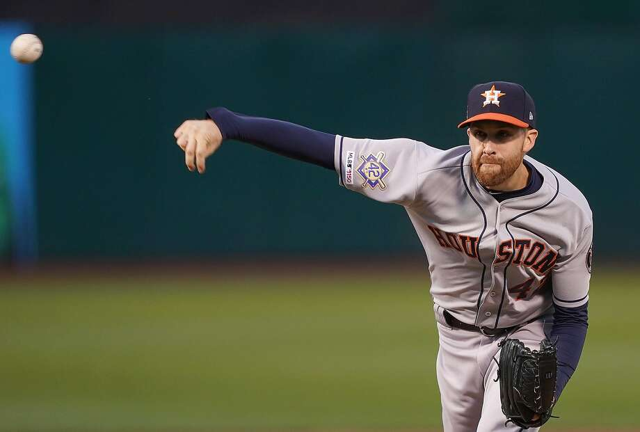 b61cb21ba Collin McHugh of the Houston Astros pitches against the Oakland Athletics  in the bottom of the