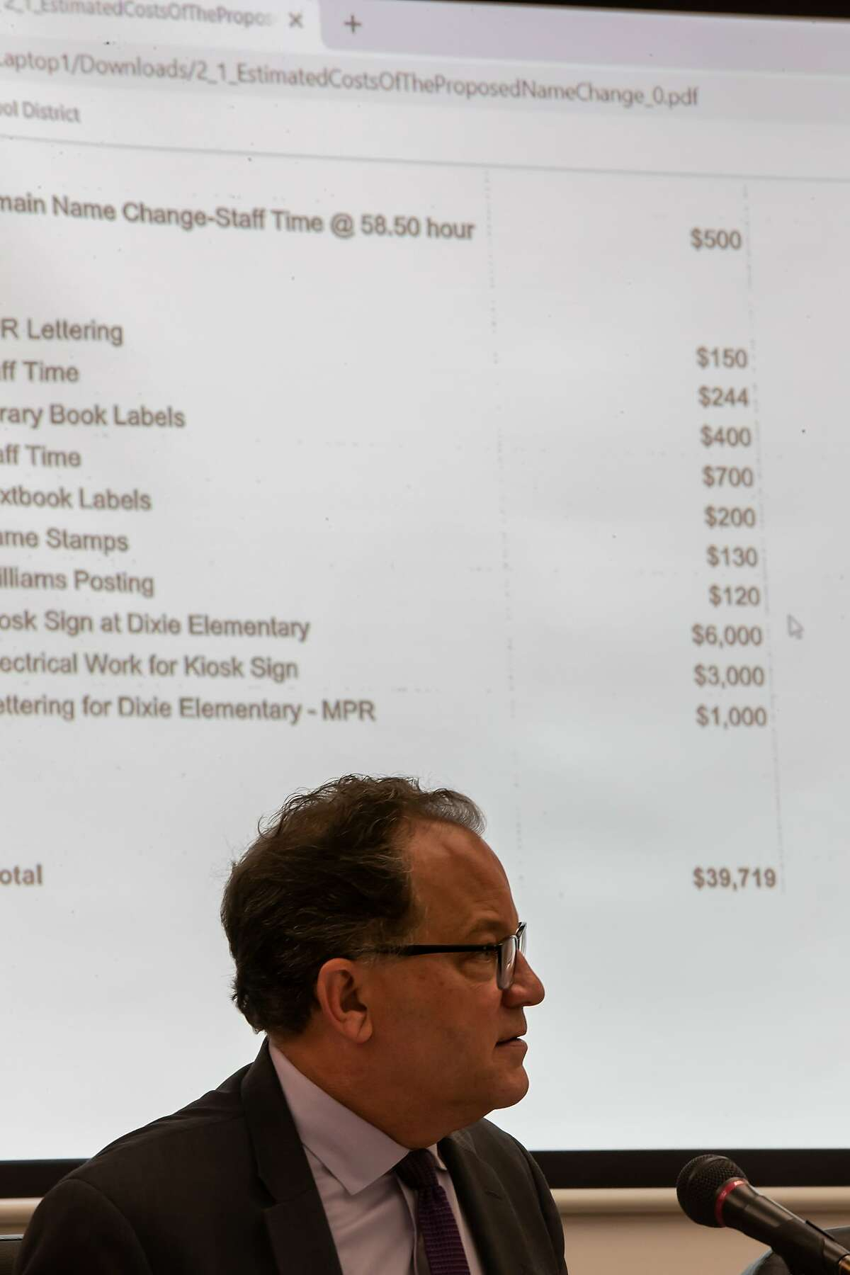 Brad Honsberger, School Board president, discusses the costs of the name change during the Dixie School board meeting on Tuesday, April 16, 2019 in San Rafael, CA.