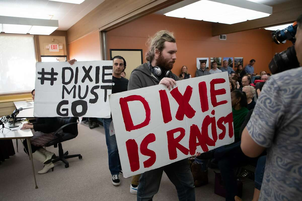 Yavar Amidi (left) and Adam Gans with the Student for Unity and Justice walks in the Dixie School board meeting on Tuesday, April 16, 2019 in San Rafael, CA.