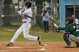 Saratoga Springs' Sam Cirenza takes a swing at a pitch during a baseball game against Shenendehowa on Thursday, April 11, 2019 in Saratoga Springs, N.Y. (Lori Van Buren/Times Union)
