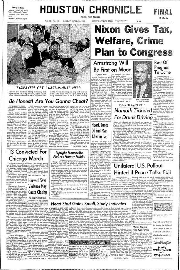 April 14, 1969 Photo: Houston Chronicle