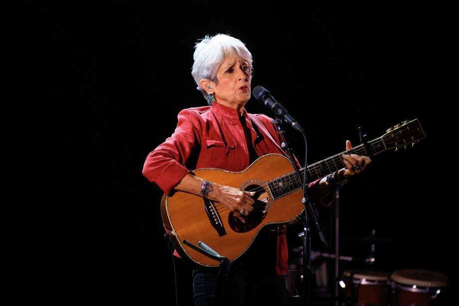 Joan Baez performs at the Tobin Center for the Performing Arts on Tuesday, where she delivered a stunning 23-song performance for a sold-out house Photo: Johndavid Scarcliff