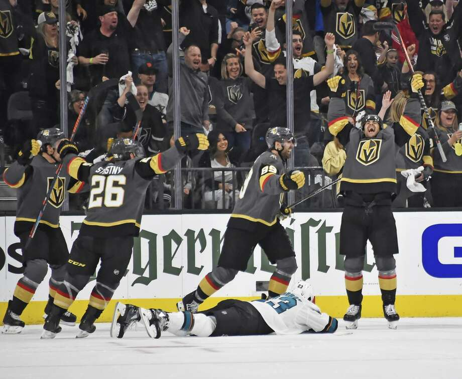 Max Pacioretty #67 of the Vegas Golden Knights celebrates after scoring a goal during the second period against the San Jose Sharks in Game Four of the Western Conference First Round during the 2019 NHL Stanley Cup Playoffs at T-Mobile Arena on April 16, 2019 in Las Vegas, Nevada. Photo: David Becker / NHLI Via Getty Images / 2019 NHLI