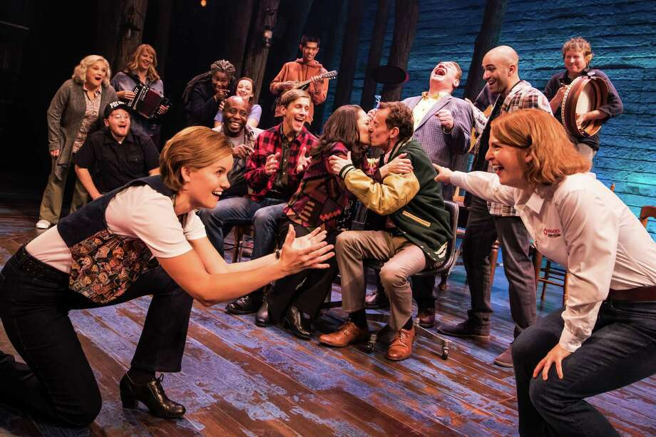 "The long layover leads to a romance in ""Come From Away."" Photo: Matthew Murphy / Contributed Photo"