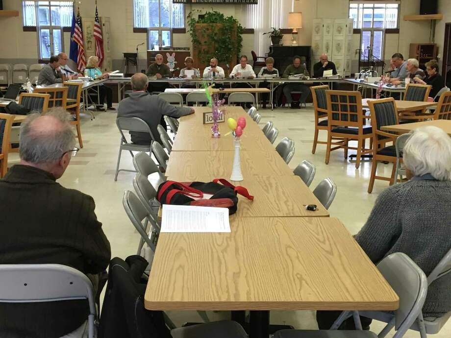The 13 East Haven Town Council members far outnumbered the three members of the public who turned out on Tuesda for the first of two public hearings on Mayor Joseph Maturo Jr.'s recommended 2019-2020 town-side budget. Photo: Mark Zaretsky / Hearst Connecticut Media /
