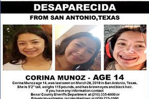 Corina Munoz was last seen in San Antonio on March 28, 2019. She was wearing black pants and a pink shirt.