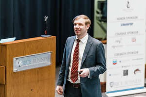 Matt McGuire, CEO of Safe Stamp, pitches his business plan at the fifth annual Veterans Business Battle held at Rice University.
