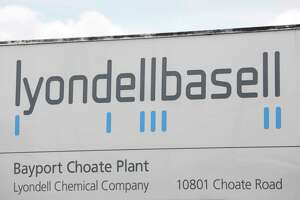 A view of the sign to the plant during a plant tour at at LyondellBasell's petrochemical plant in Pasadena, TX on Tuesday, April 16, 2019.