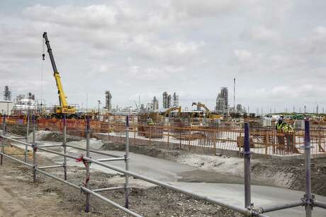 A view of the new construction during a plant tour at at LyondellBasell's petrochemical plant in Pasadena, TX on Tuesday, April 16, 2019.