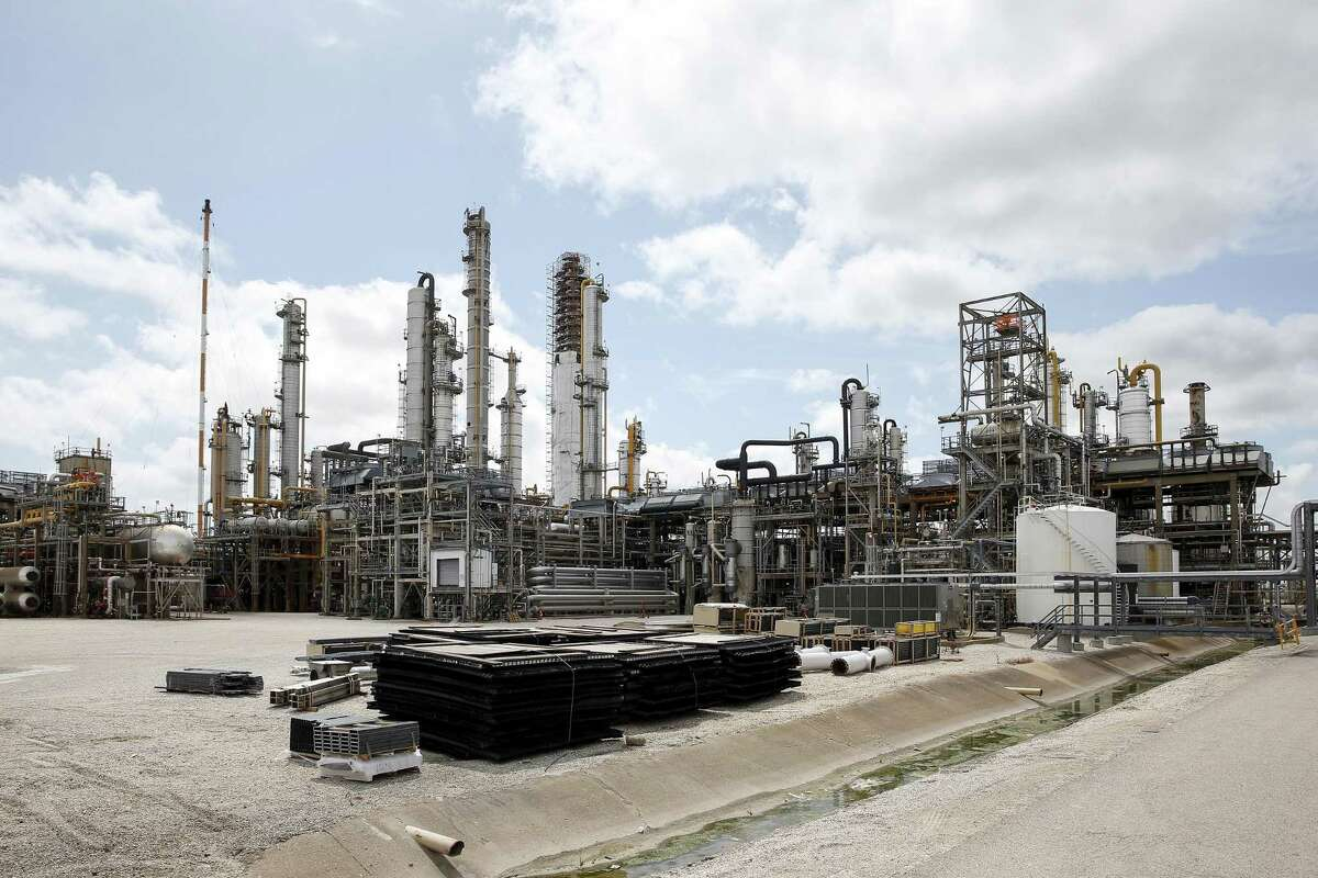 A view of the plant during a plant tour at at LyondellBasell's petrochemical plant in Pasadena, TX.