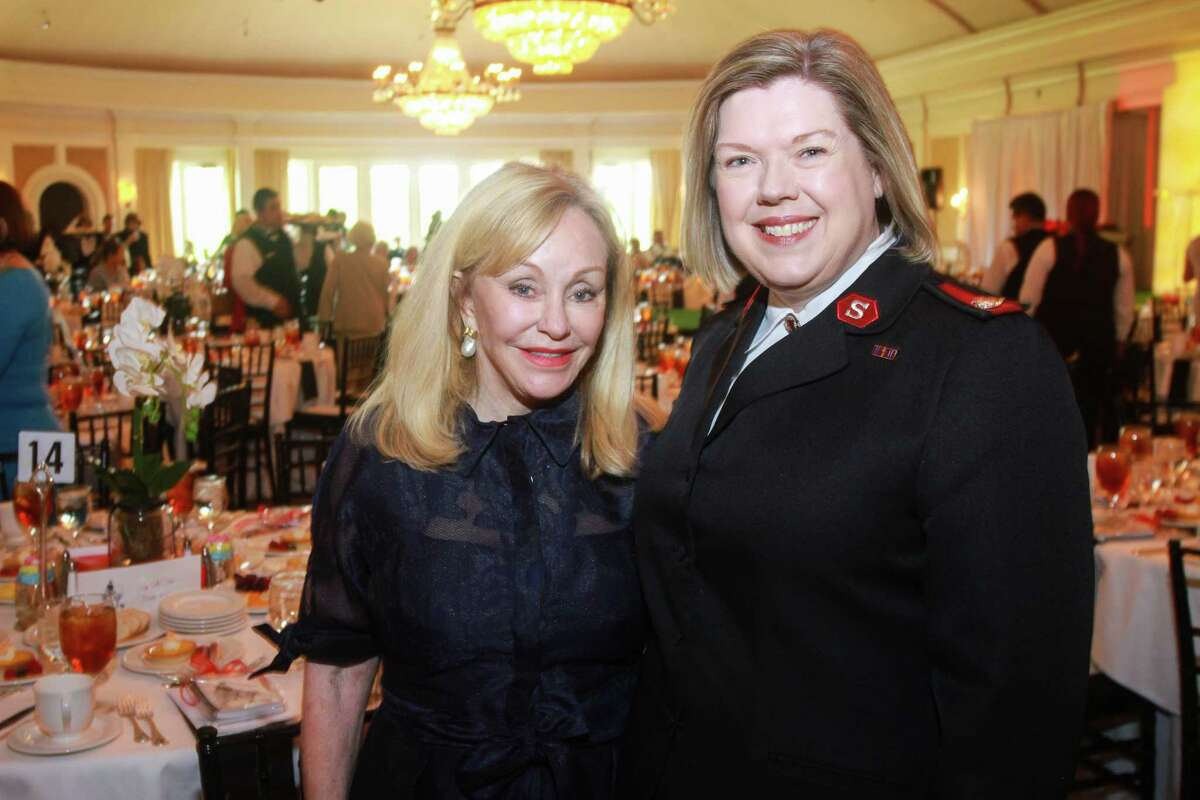 Judi McGee, left, and Major Melody Davis at the Salvation Army luncheon.